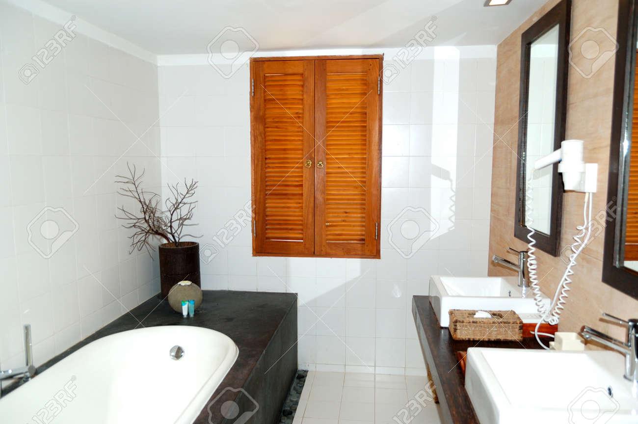Bathroom at the luxury villa, Bentota, Sri Lanka Stock Photo - 18646474