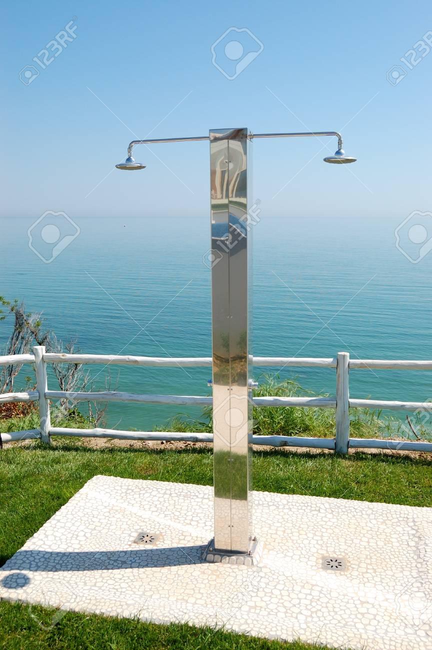 Shower near swimming pool at the modern luxury hotel, Pieria,..
