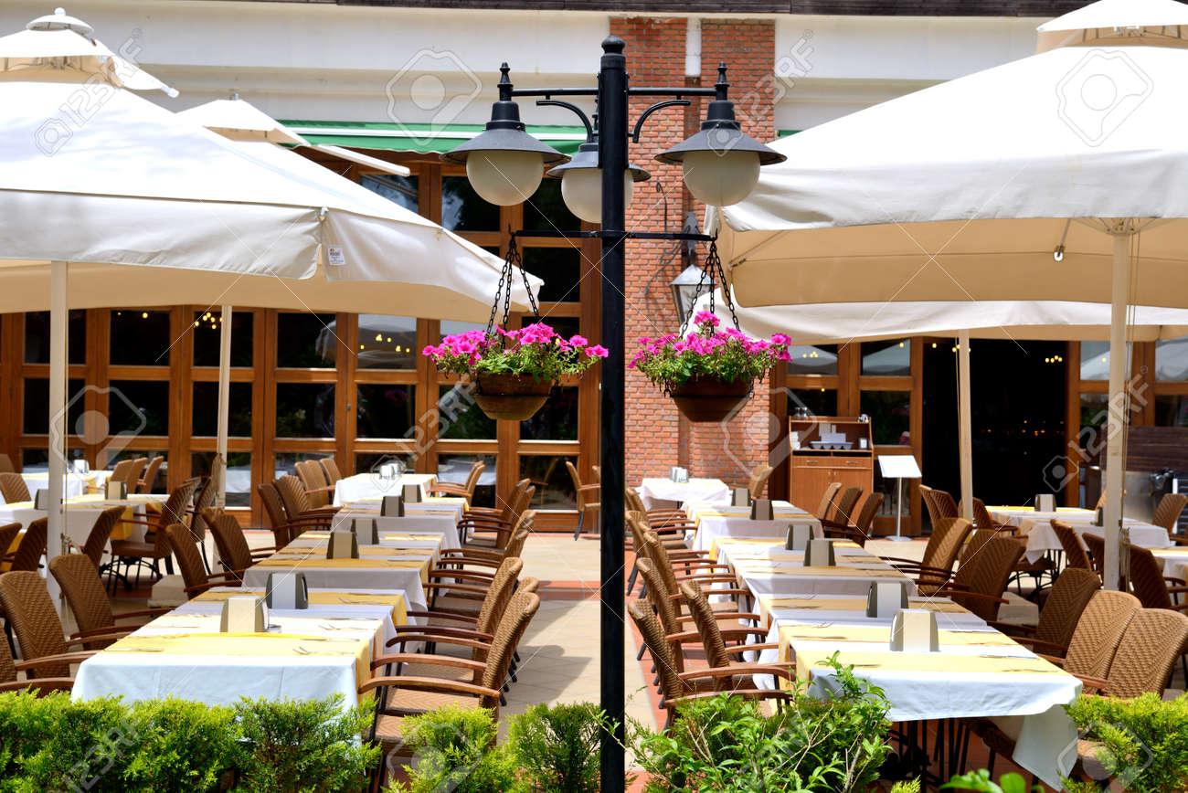 Outdoor restaurant at modern luxury hotel, Marmaris, Turkey Stock Photo - 21038901