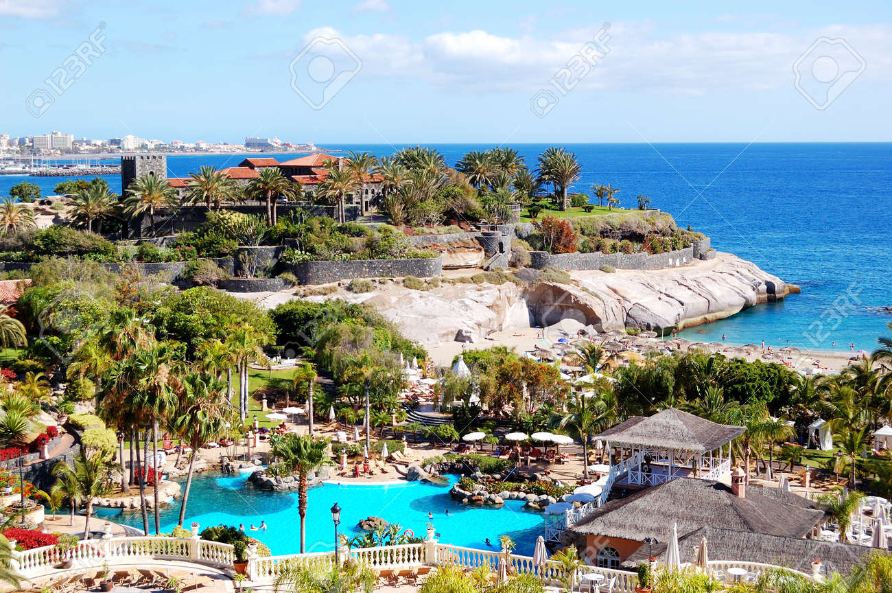 View On Beach And Swimming Pool At The Luxury Hotel Tenerife
