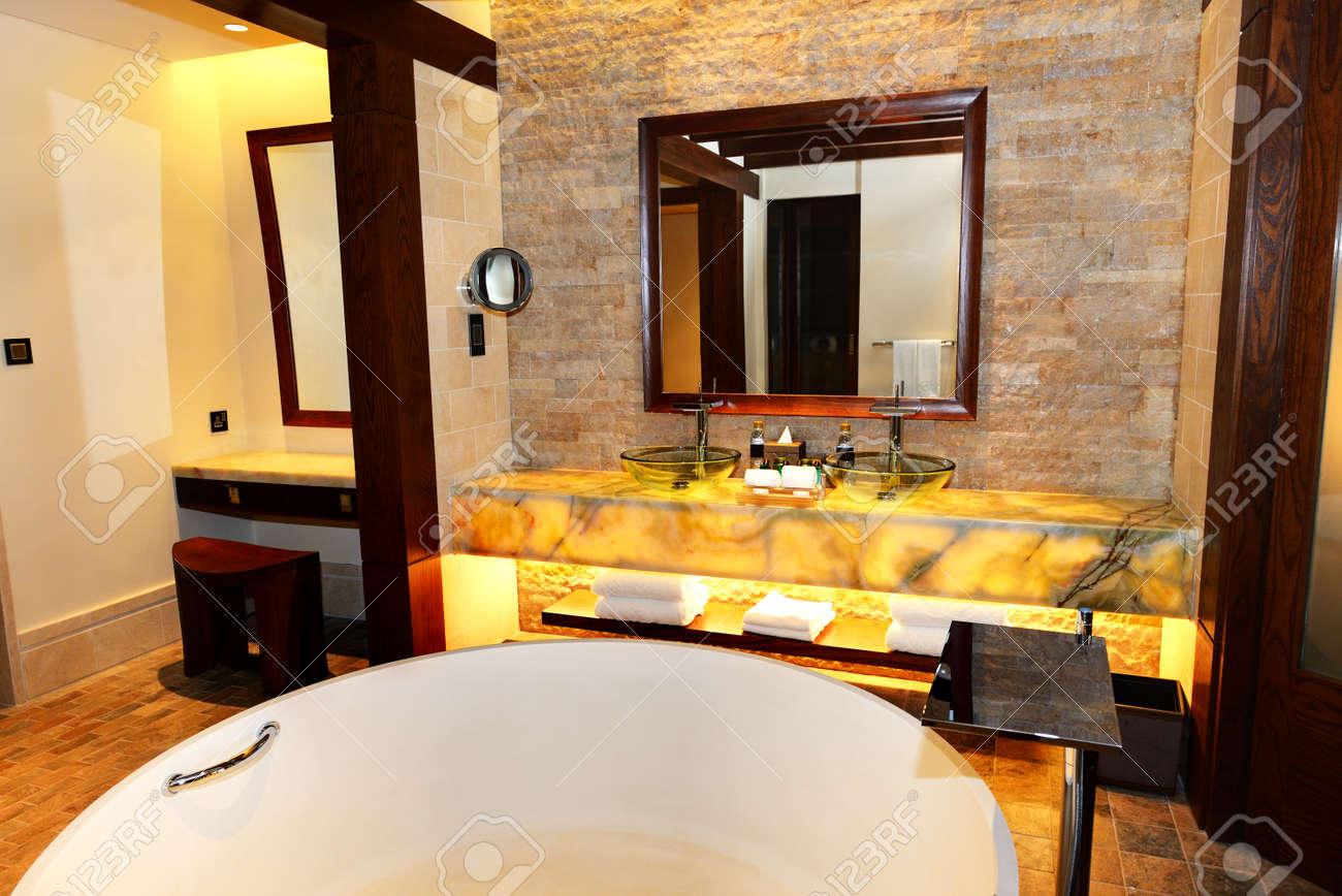 Bathroom In The Modern Luxury Hotel Dubai UAE Stock Photo