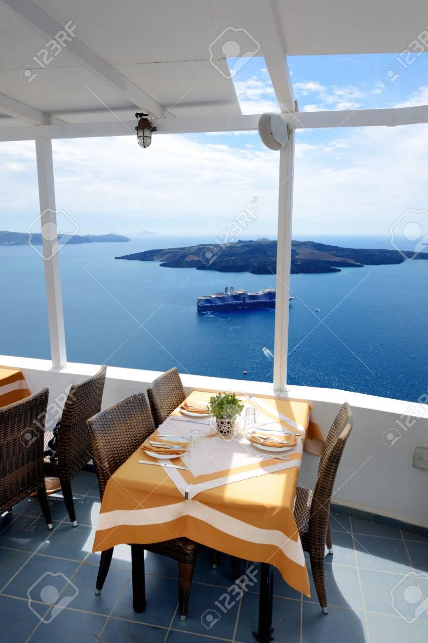 The sea view terrace in restaurant, Santorini island, Greece - 121256903
