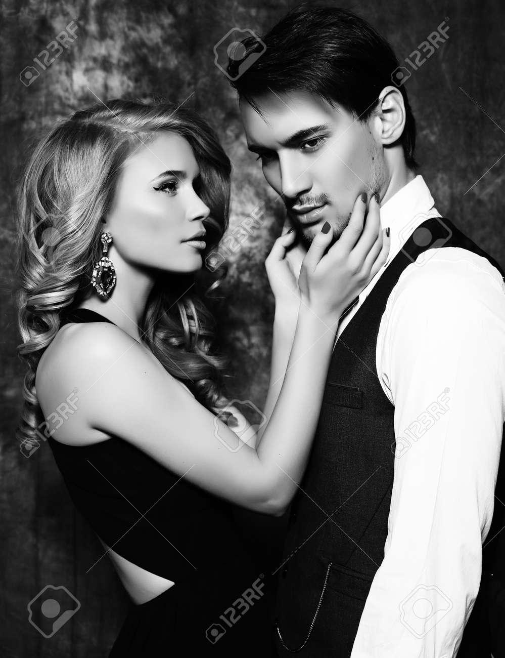 Extrêmement Black And White Fashion Studio Photo Of Beautiful Sensual Couple  BW87