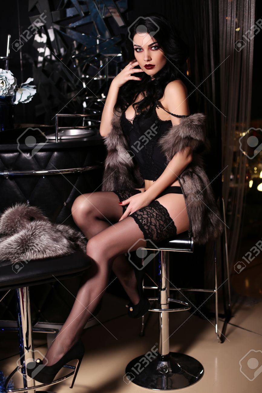 5ccaca879 fashion interior photo of beautiful sensual woman with dark hair wears black  lingerie