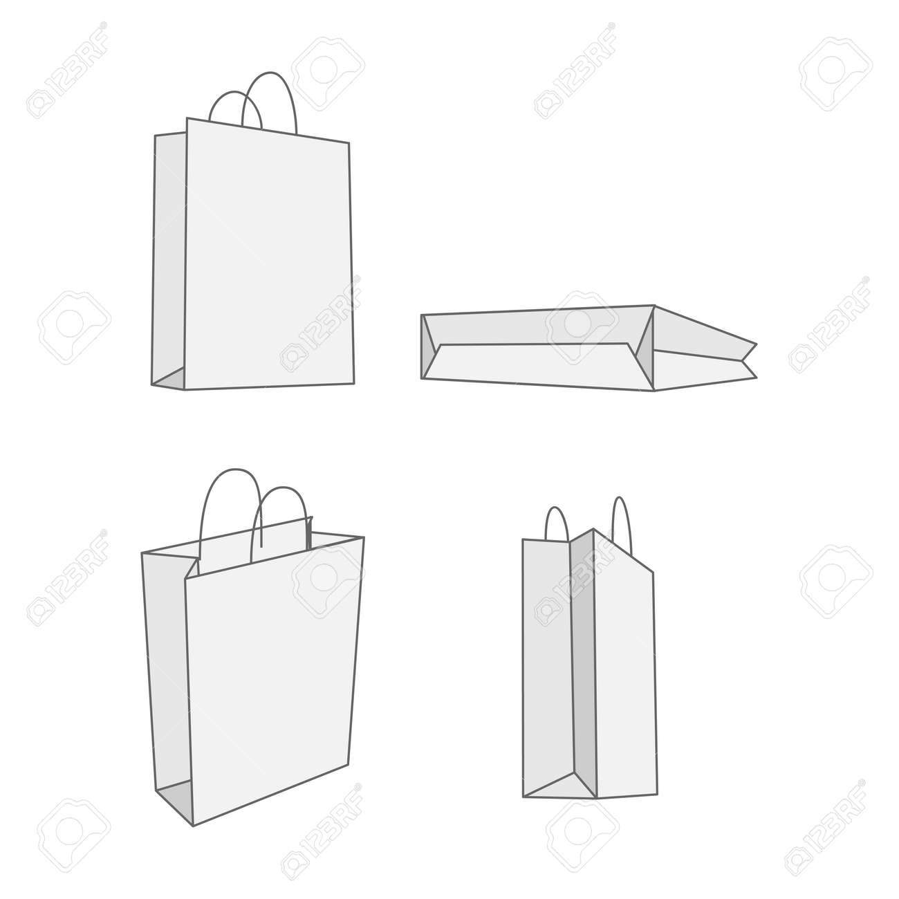 Paper bag vector - Set Of Four Graphic White Paper Bag Vector Empty Package For Your Branding Stock Vector