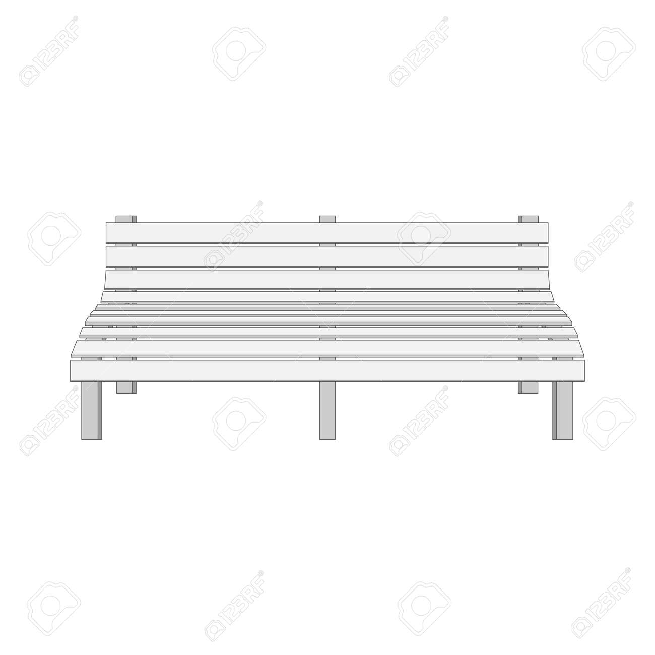 Excellent Single White Modern Bench Vector Illustration Pabps2019 Chair Design Images Pabps2019Com