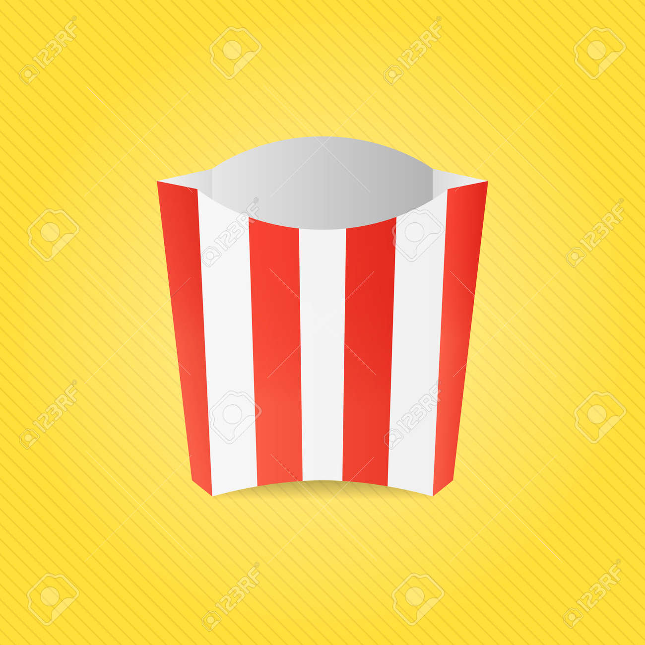 Realistic French Fries Red And White Striped Paper Box Mock Up Template Of Container