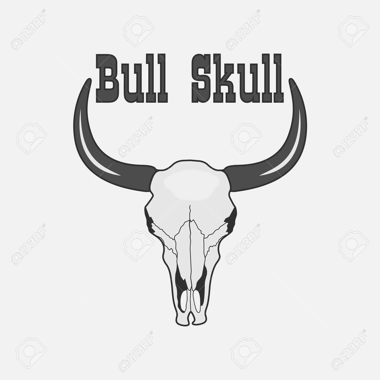 Schwarzweiss-Kuh-Schädel-Design-Element. Skeleton Bull-Kopf-Symbol ...