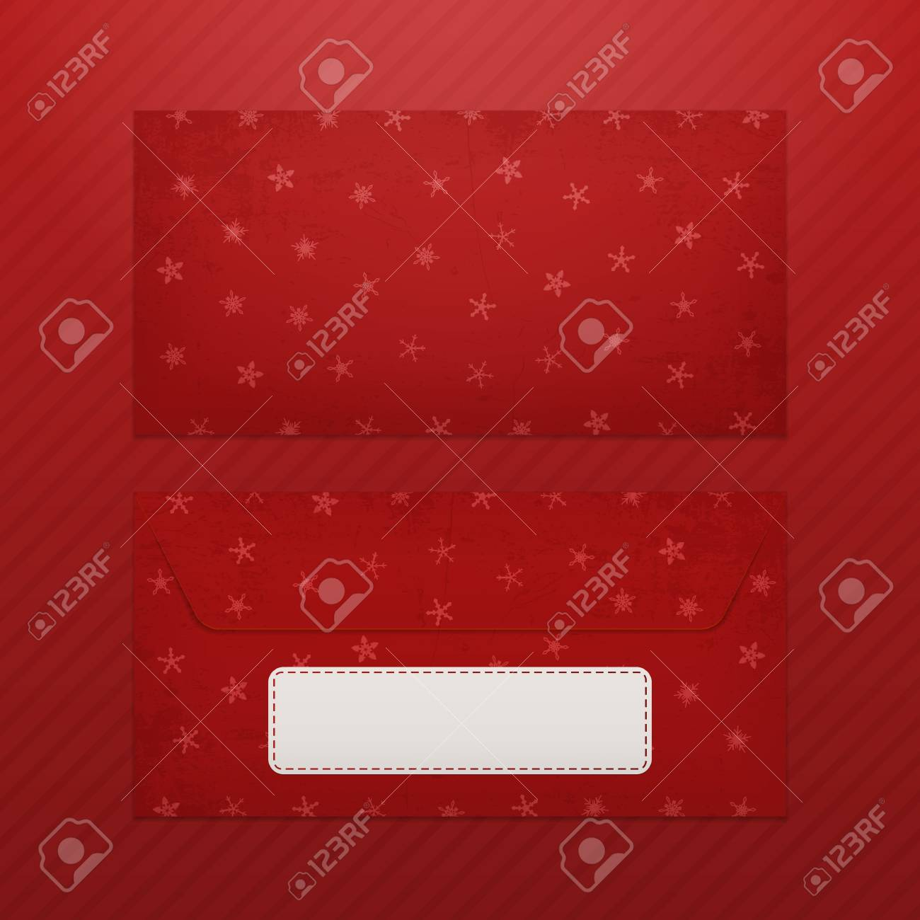 Realistic Christmas Blank Envelope Template For Santa With ...