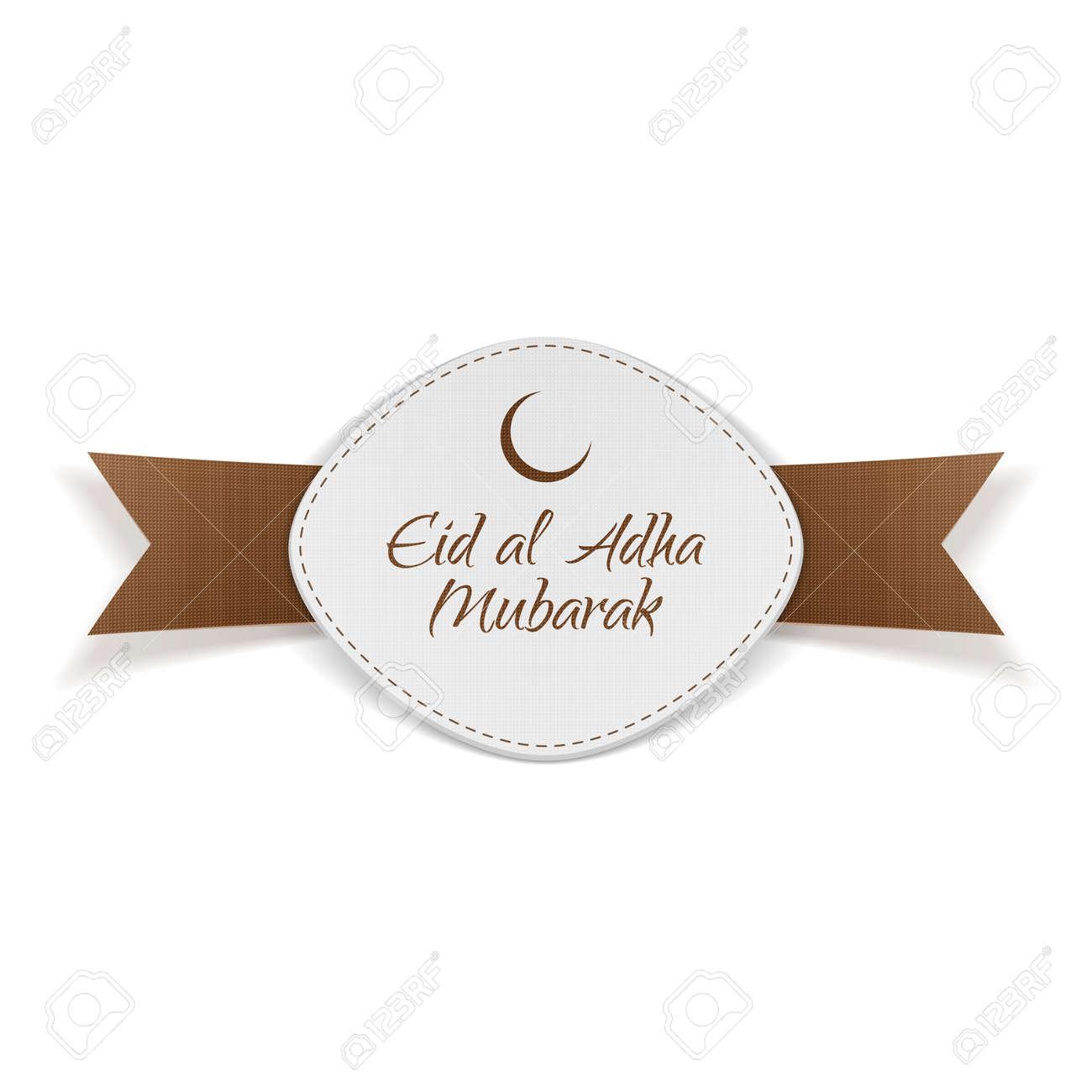 Eid Al Adha Mubarak Banner With Ribbon Isolated On White Background