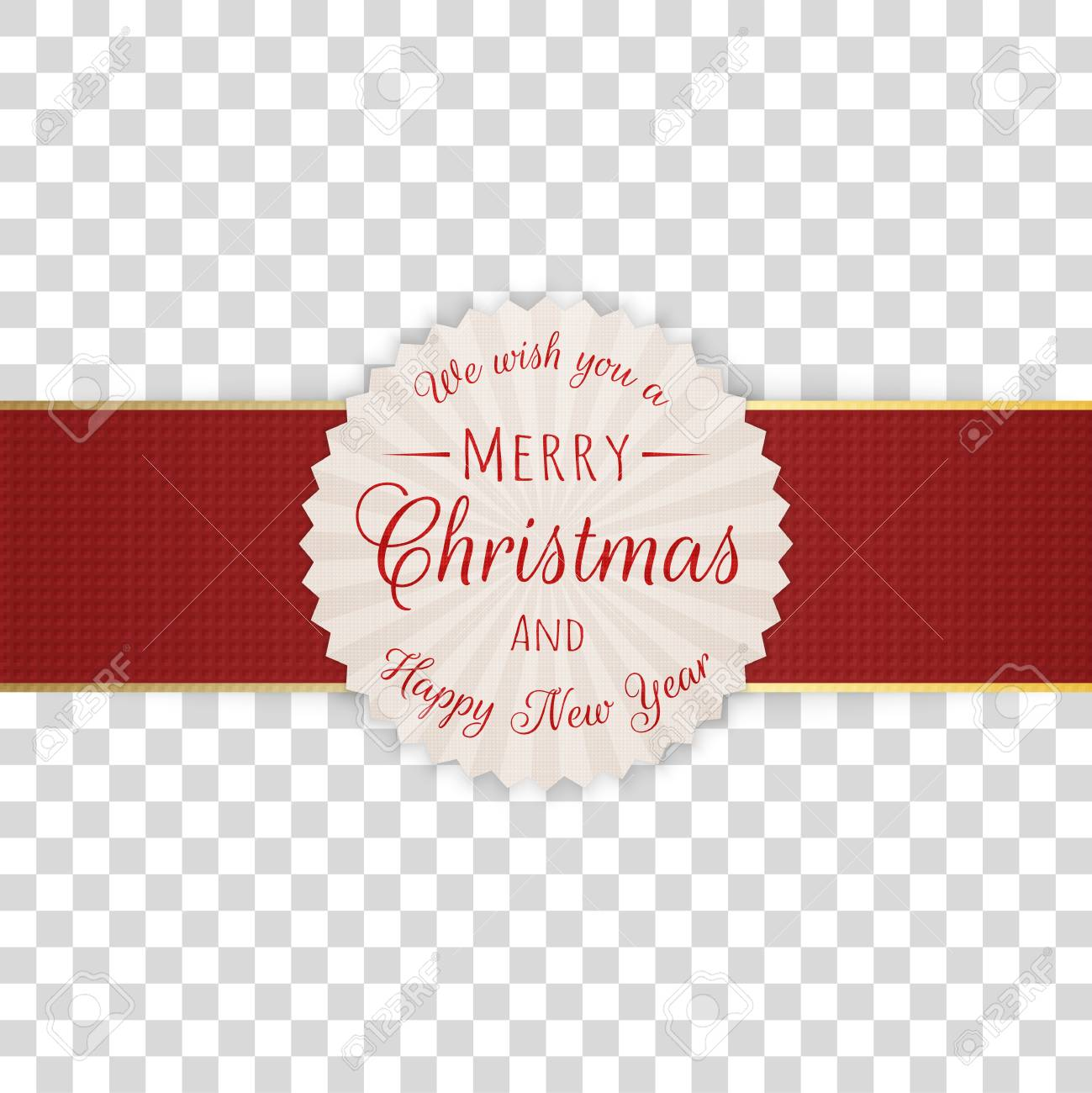 Merry Christmas No Background.Circle Merry Christmas Decorative Label With Text On Transparent