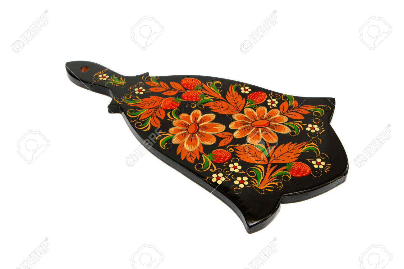 Russian traditional black cutting board painted with flowers isolated Stock Photo - 5035495