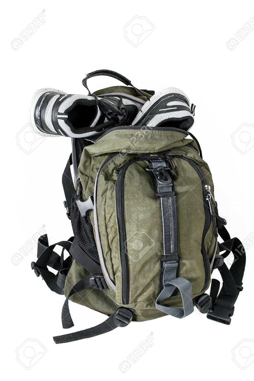 Tourist backpack with shoes on a white background Stock Photo - 38376867 607b2fa09d1fd