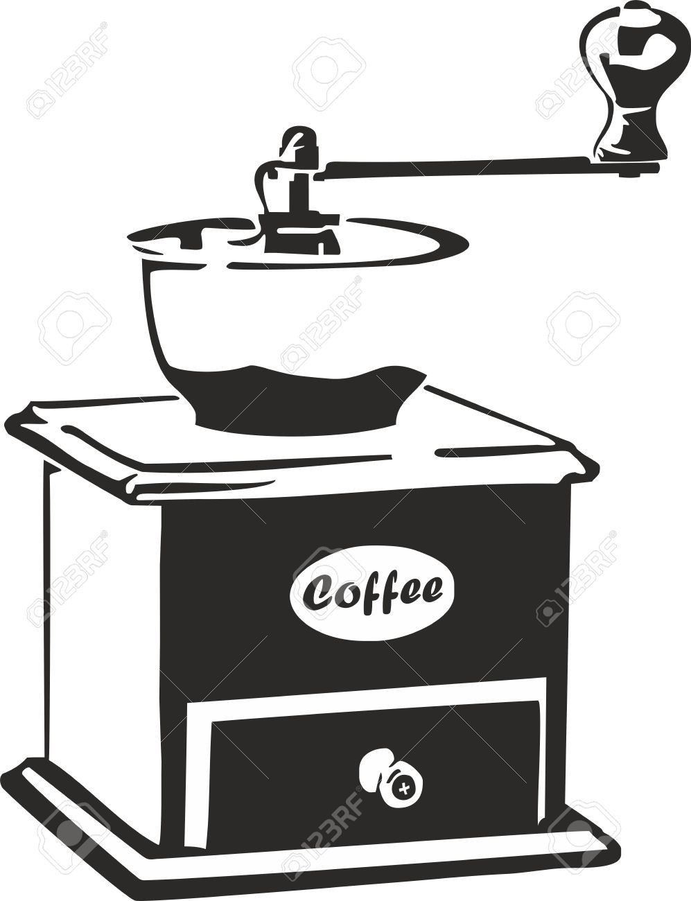 vector illustration of an old coffee grinder royalty free cliparts rh 123rf com