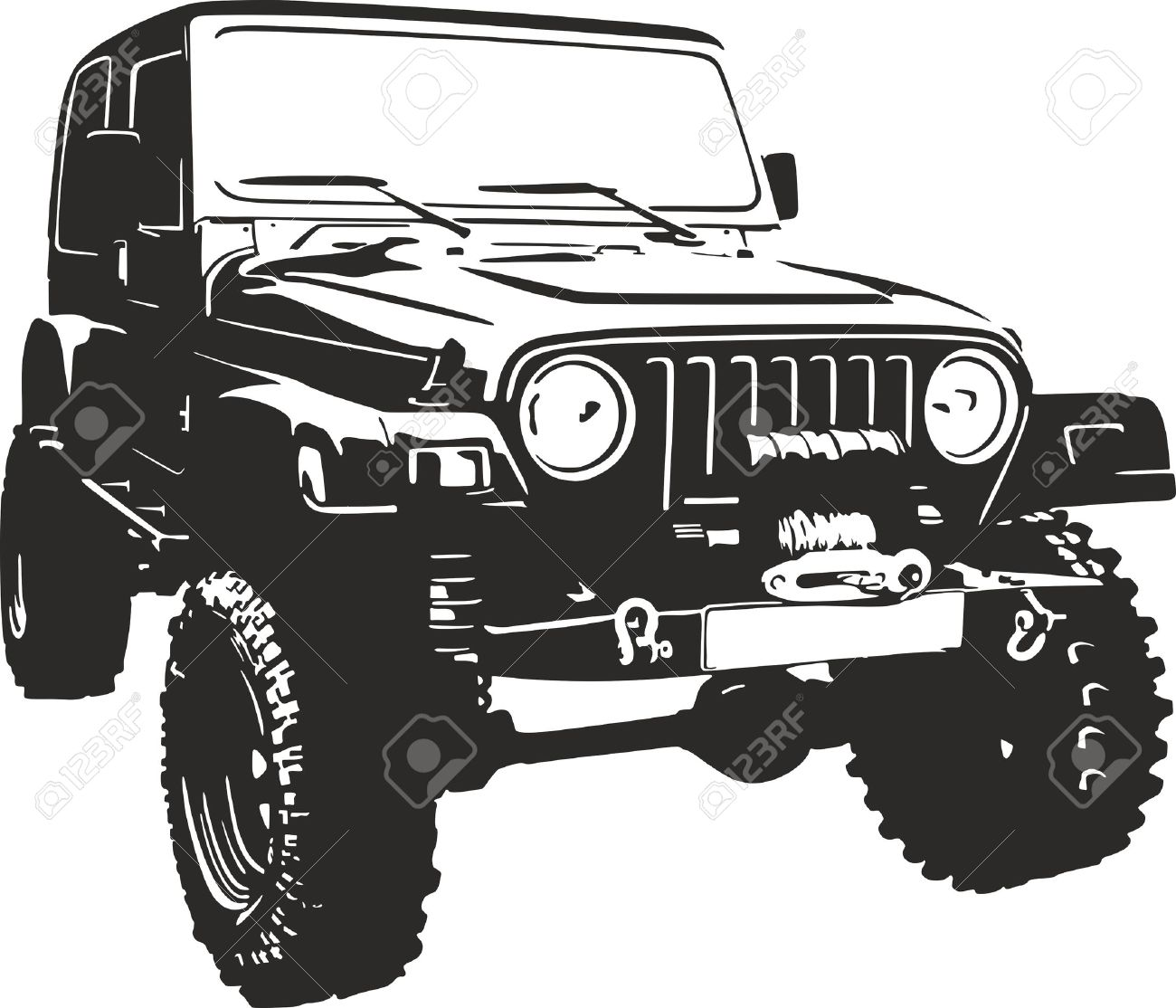 Offroad Vehicle In Black Color Royalty Free Cliparts Vectors And