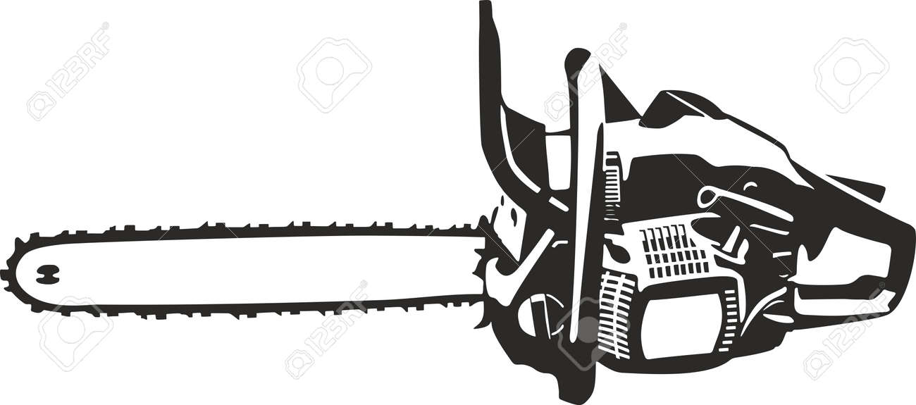 chain saw clip art  Chainsaw Vector Clip Art Contour Lines Illustration Isolated ...