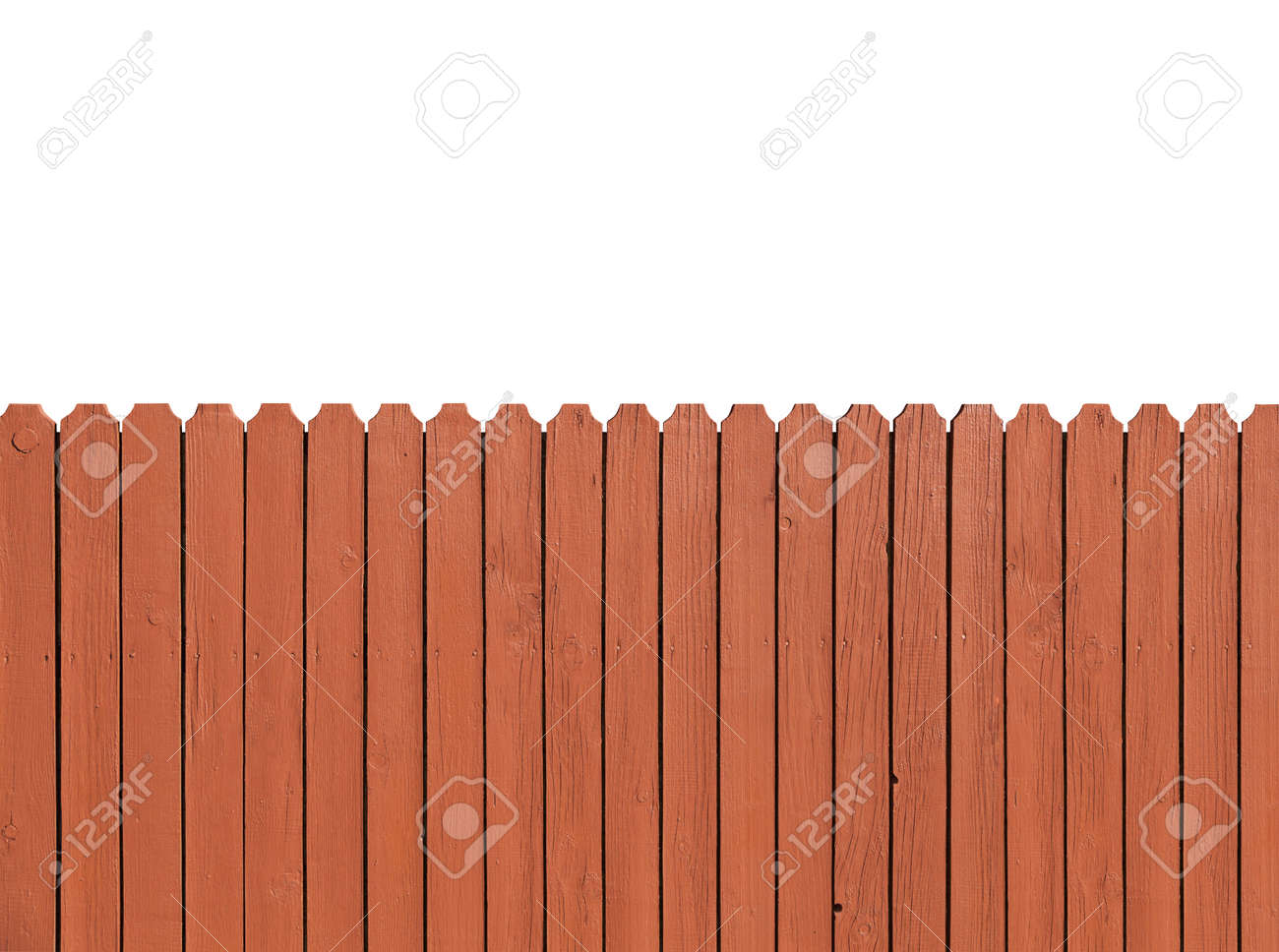 Fence wooden parallel bars, painted brown. Isolated on a white background. With clipping path. - 62373589