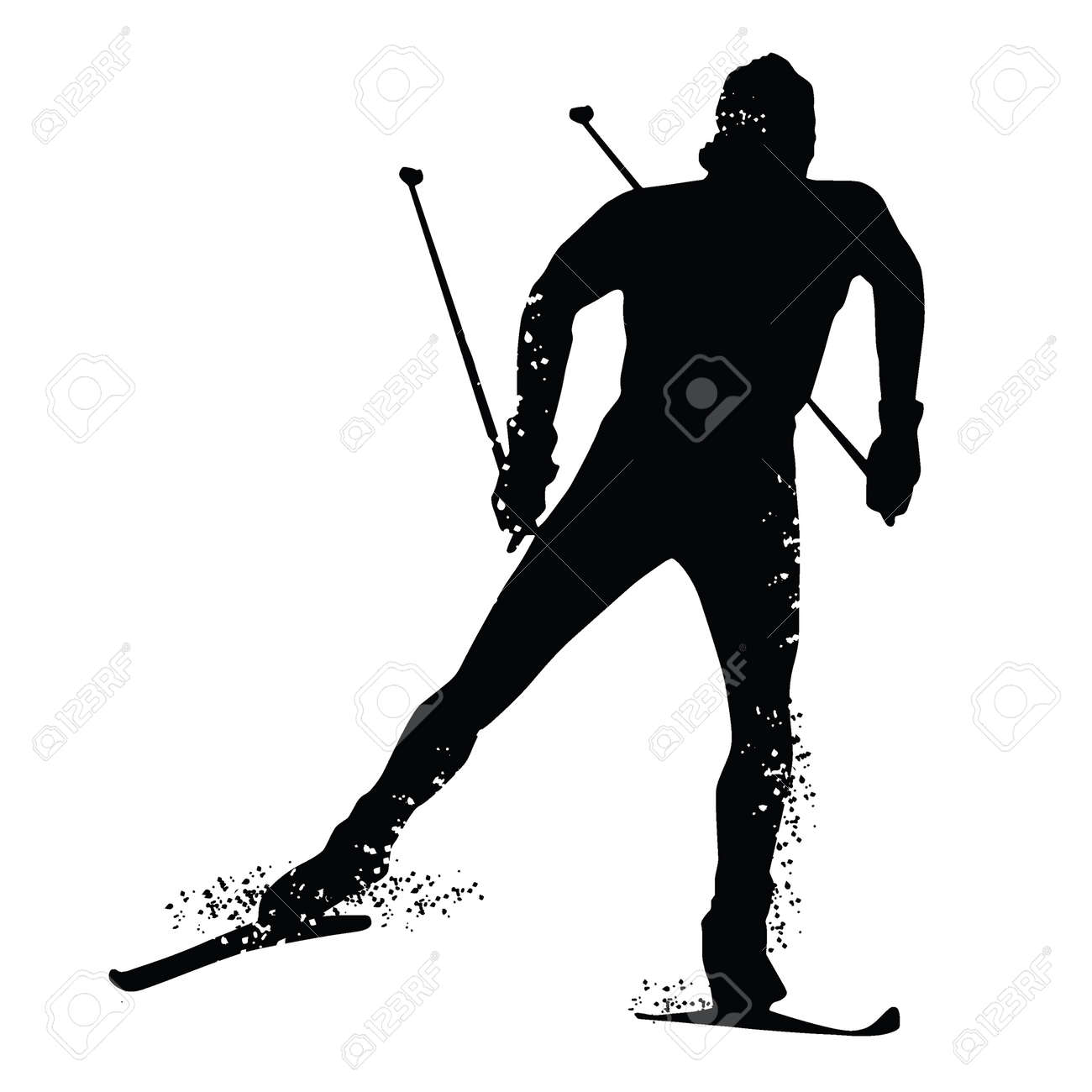 Silhouette Cross Country Skiing Isolated On White Background Vector Illustrations Stock