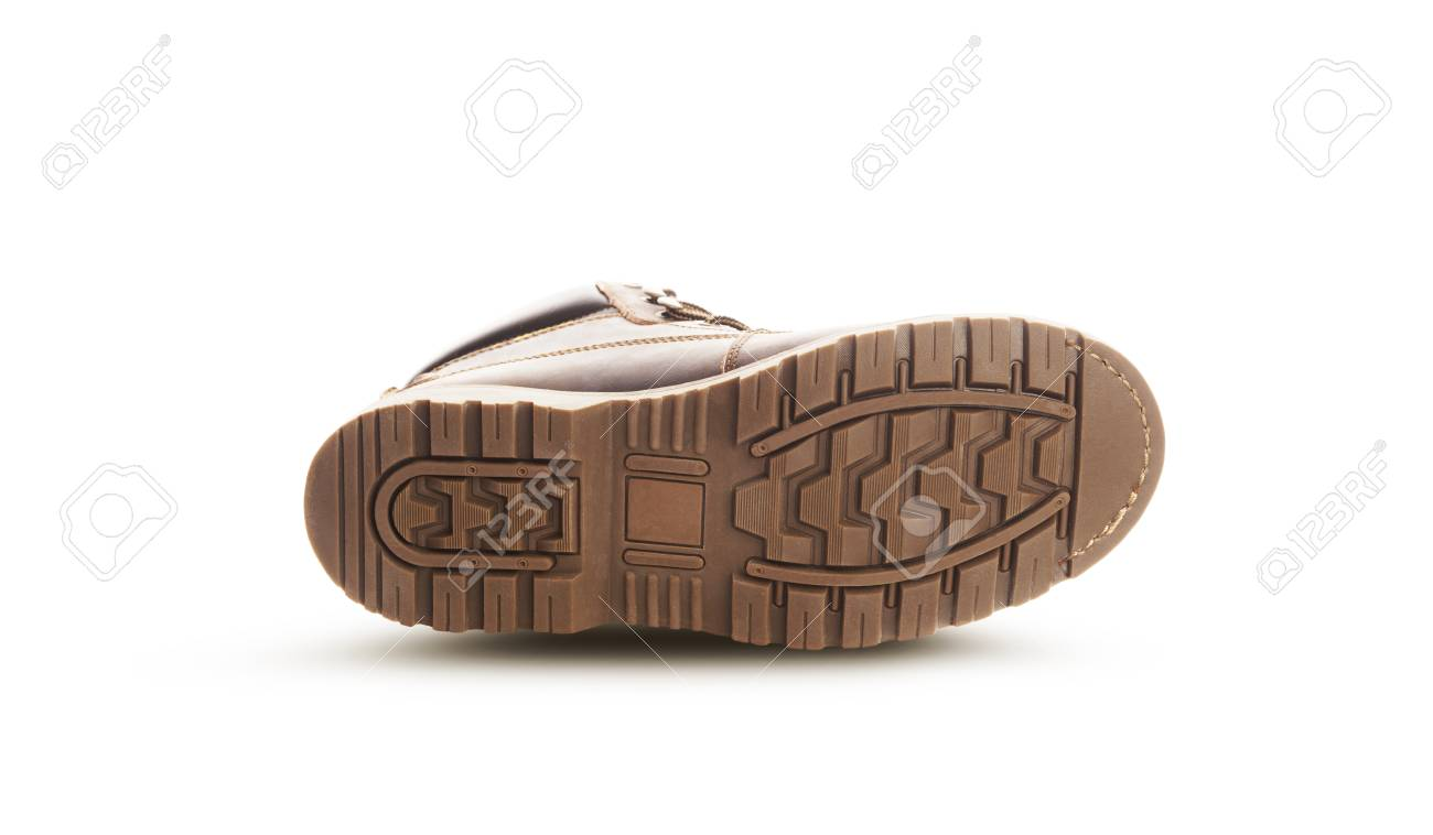 order in stock factory outlets Brown boots sole. Isolated on a white