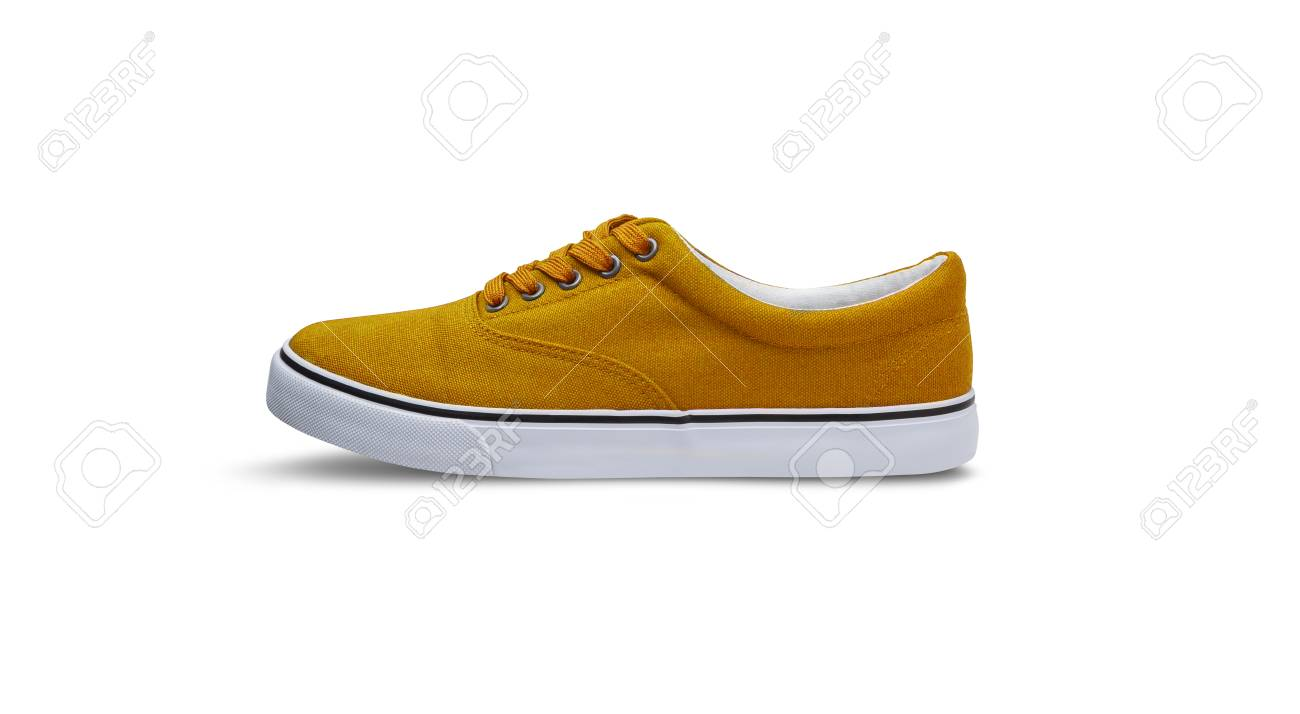 Yellow Canvas Shoes Isolated On White