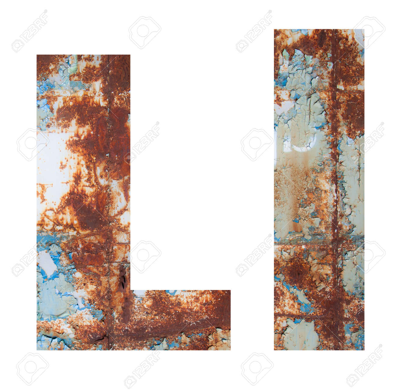 Rusty metal letter L. Old metal alphabet isolated on white background. - 167239827