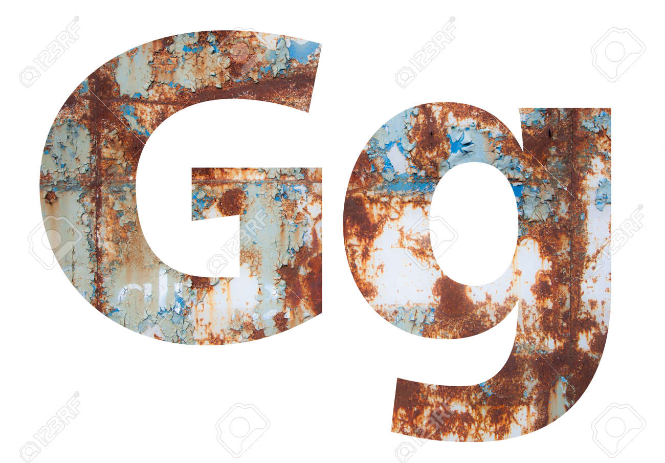 Rusty metal letter G. Old metal alphabet isolated on white background. - 167239835