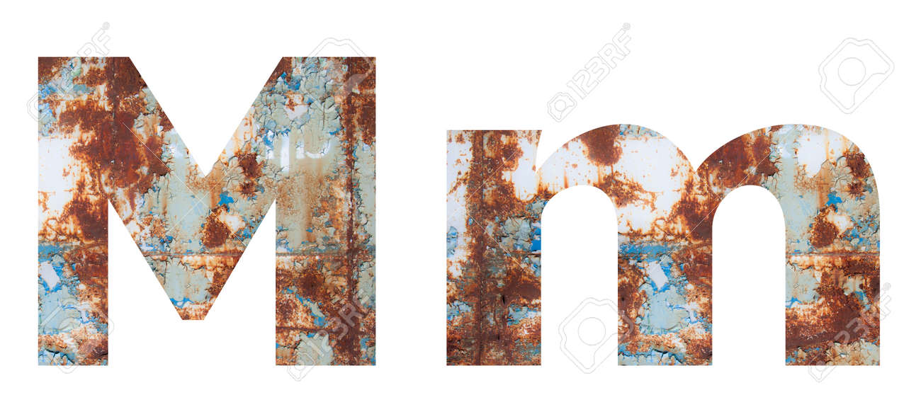 Rusty metal letter M. Old metal alphabet isolated on white background. - 167239844