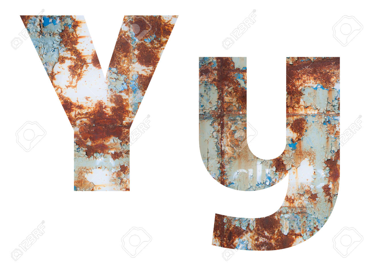 Rusty metal letter Y. Old metal alphabet isolated on white background. - 167239868