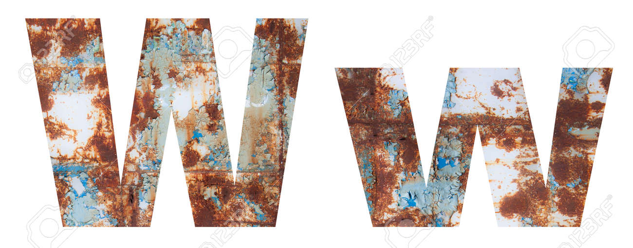 Rusty metal letter W. Old metal alphabet isolated on white background. - 167239901
