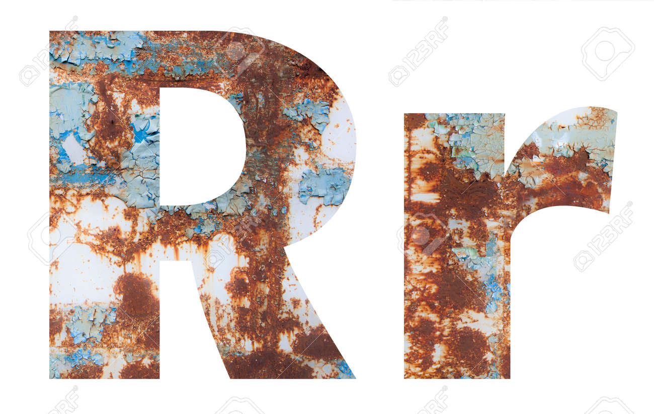 Rusty metal letter R. Old metal alphabet isolated on white background. - 167239906