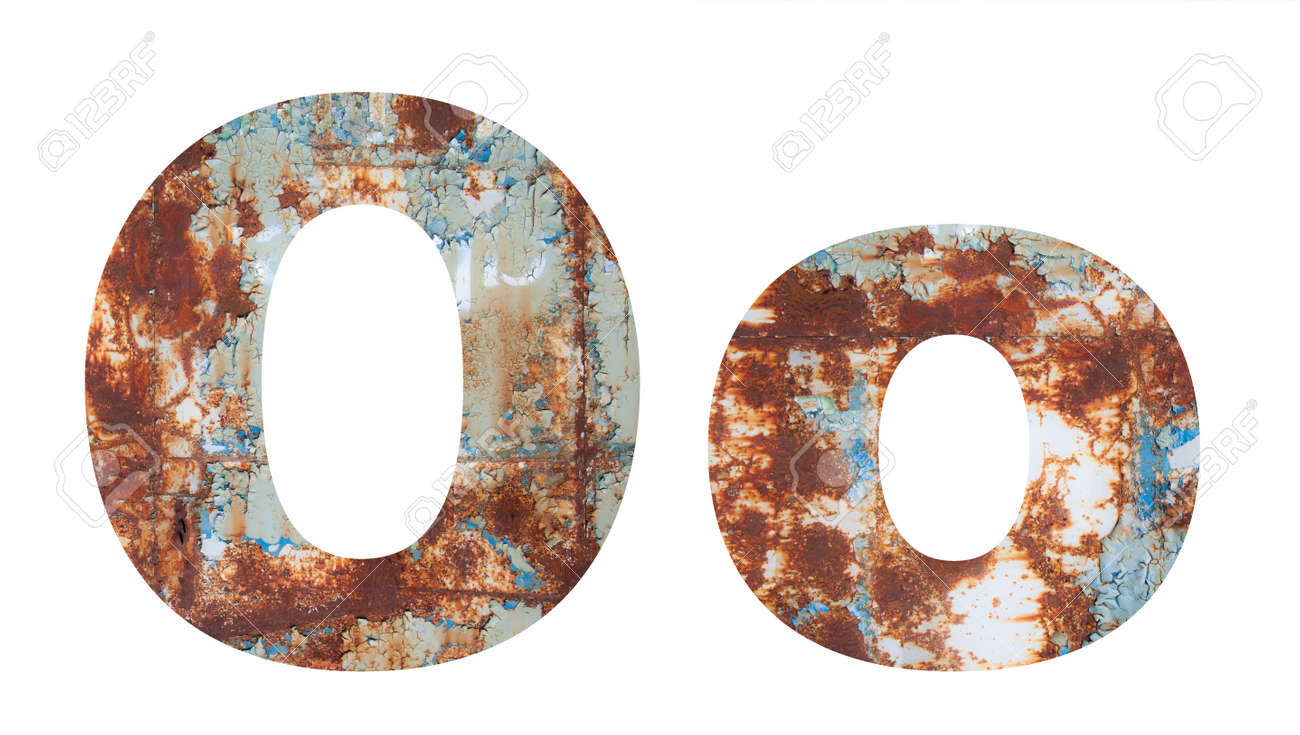 Rusty metal letter O. Old metal alphabet isolated on white background. - 167239913