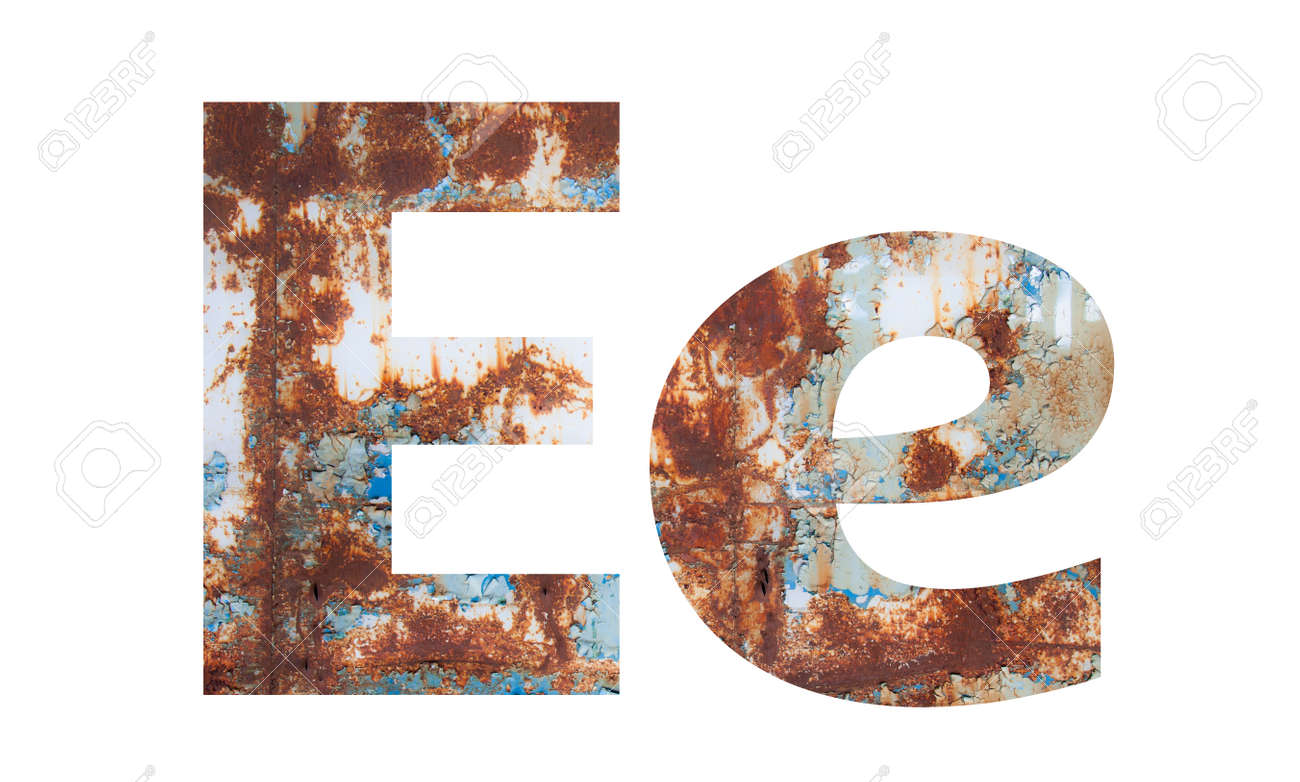 Rusty metal letter E. Old metal alphabet isolated on white background. - 167239920