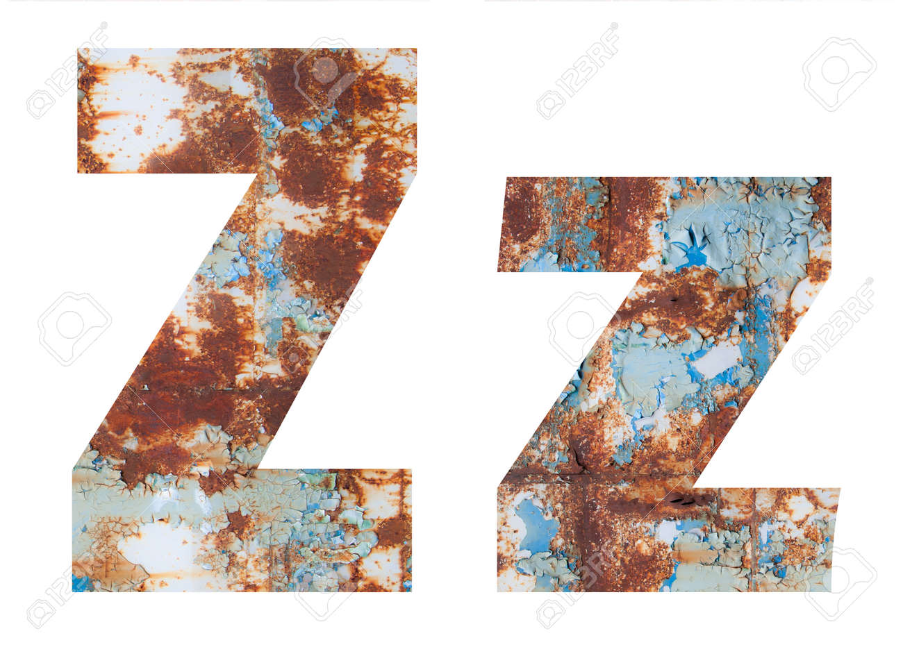 Rusty metal letter Z. Old metal alphabet isolated on white background. - 167239994