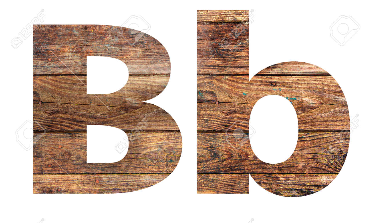 Wooden letters. Letter B. English alphabet isolated on white background. - 167239998