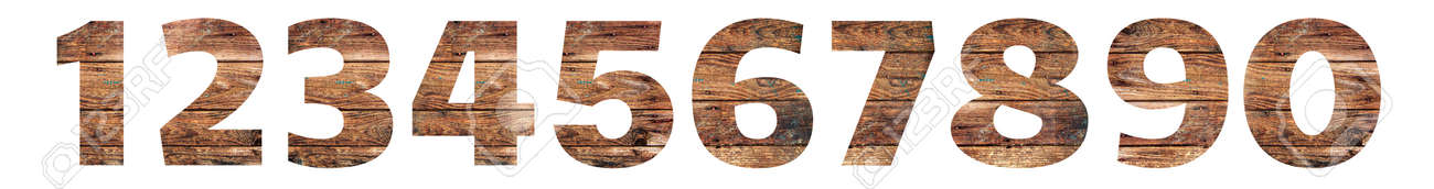 Old Wooden numbers. 1 2 3 4 5 6 7 8 9 0. Isolated on white background. With clipping path - 167240014