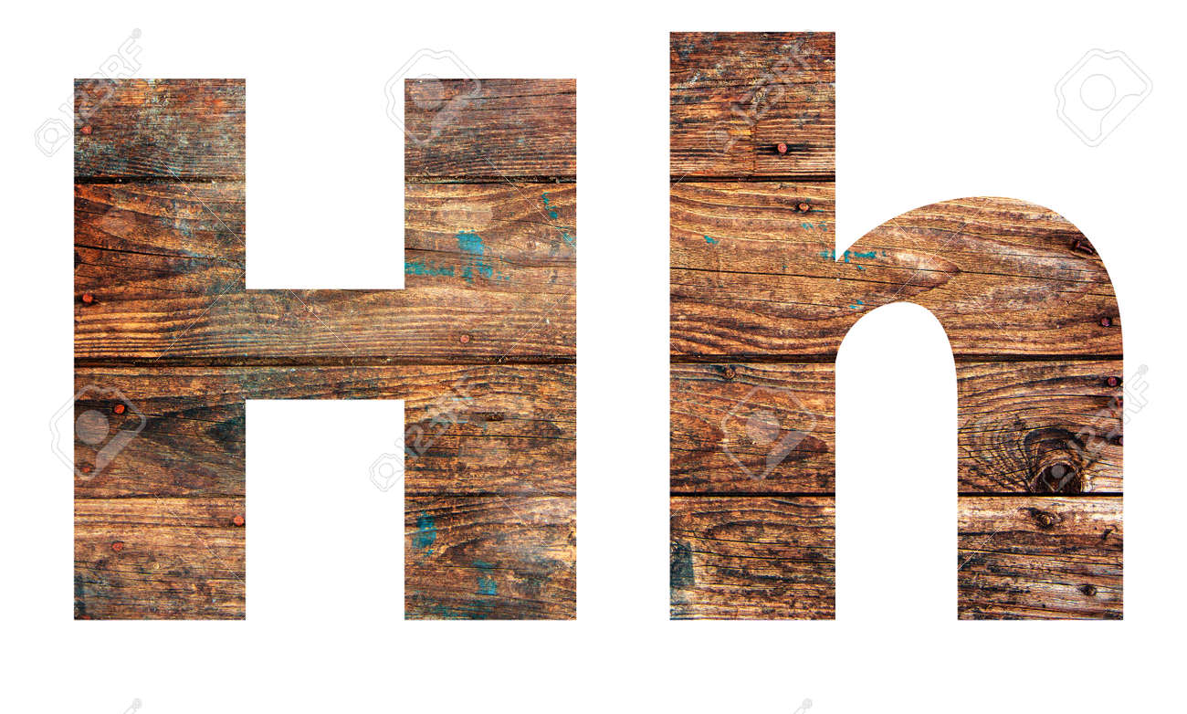 Wooden letters. Letter H. English alphabet isolated on white background. - 167240061