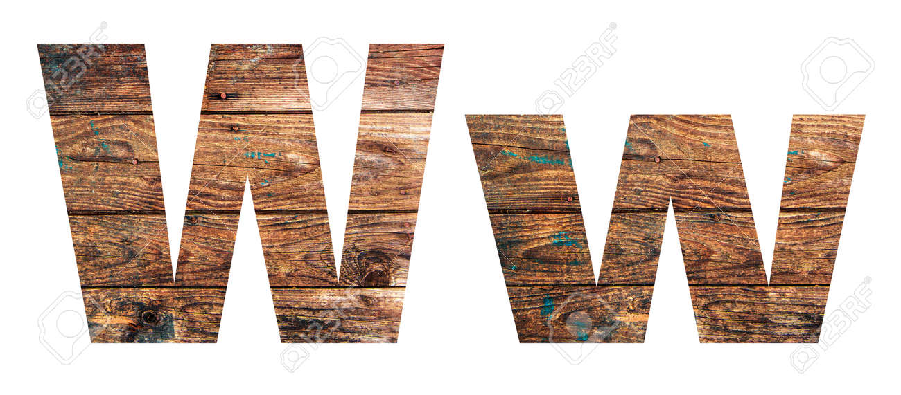 Wooden letters. Letter W. English alphabet isolated on white background. - 167240074