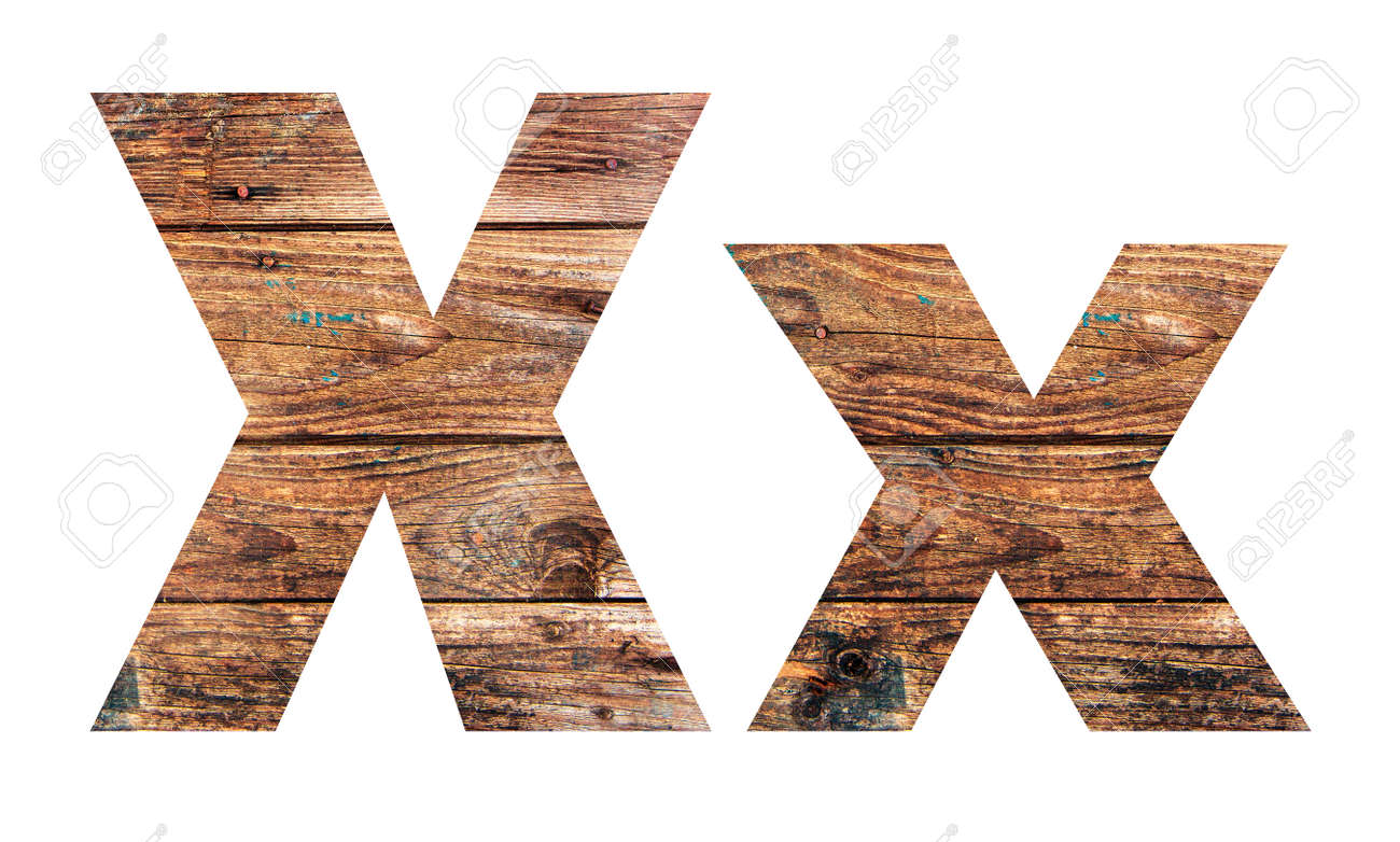 Wooden letters. Letter X. English alphabet isolated on white background. - 167240089