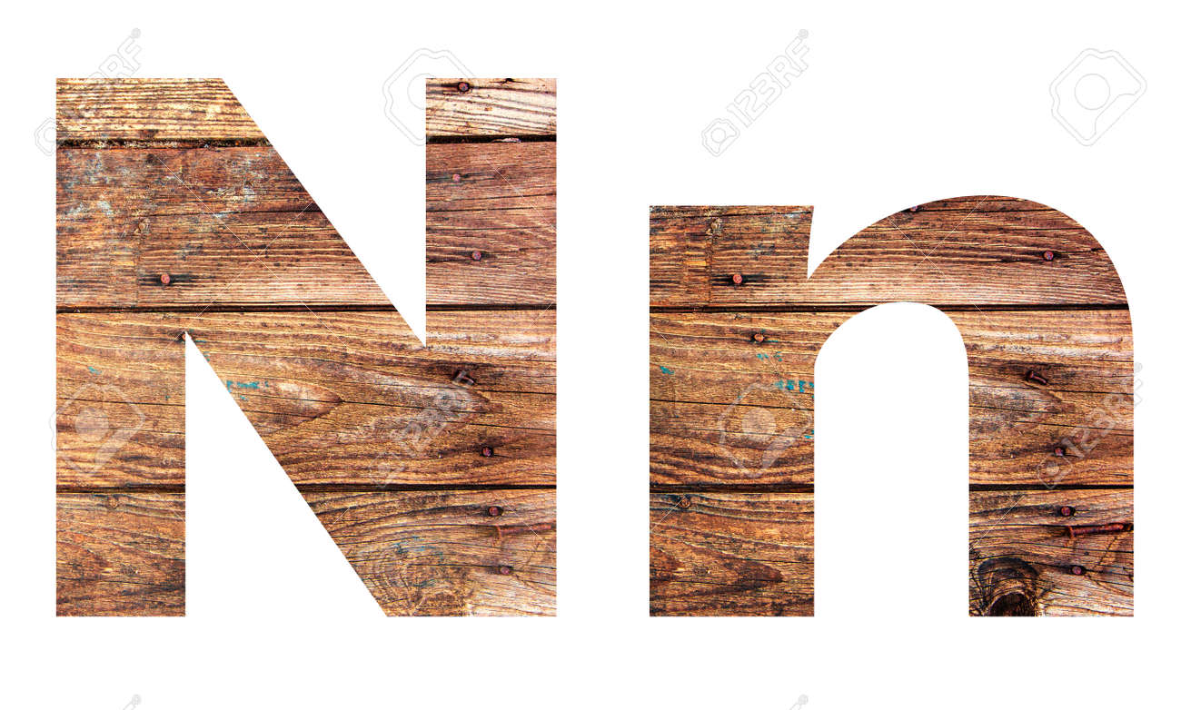 Wooden letters. Letter N. English alphabet isolated on white background. - 167240094