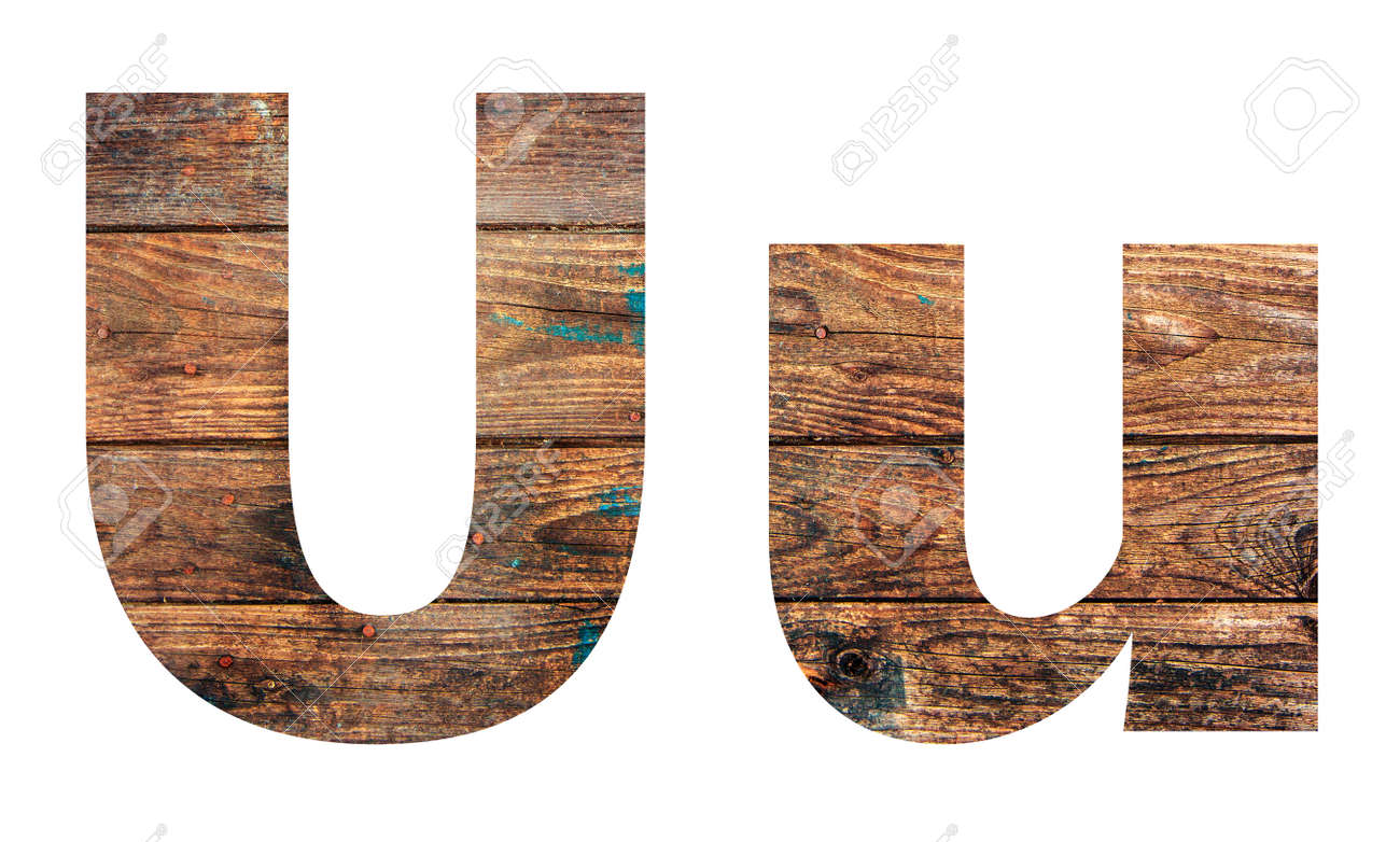 Wooden letters. Letter U. English alphabet isolated on white background. - 167240115