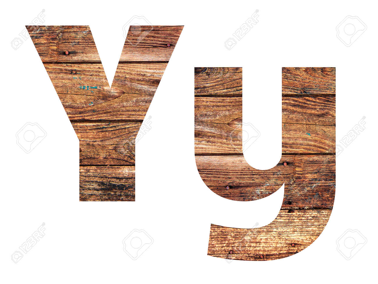 Wooden letters. Letter Y. English alphabet isolated on white background. - 167240131