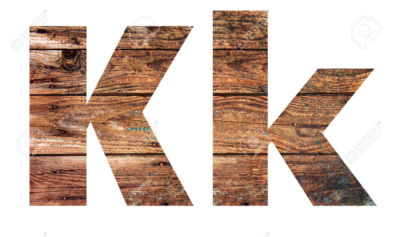 Wooden letters. Letter K. English alphabet isolated on white background. - 167240144