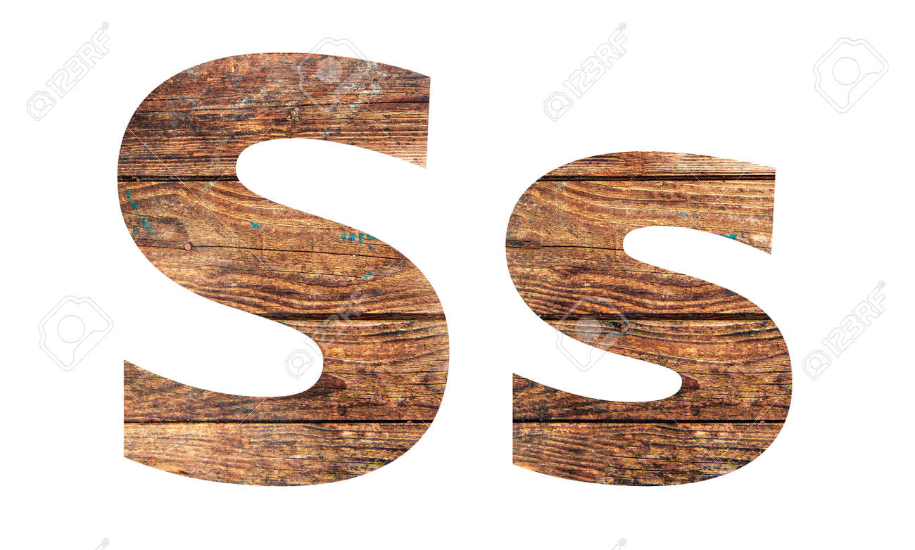 Wooden letters. Letter S. English alphabet isolated on white background. - 167240240