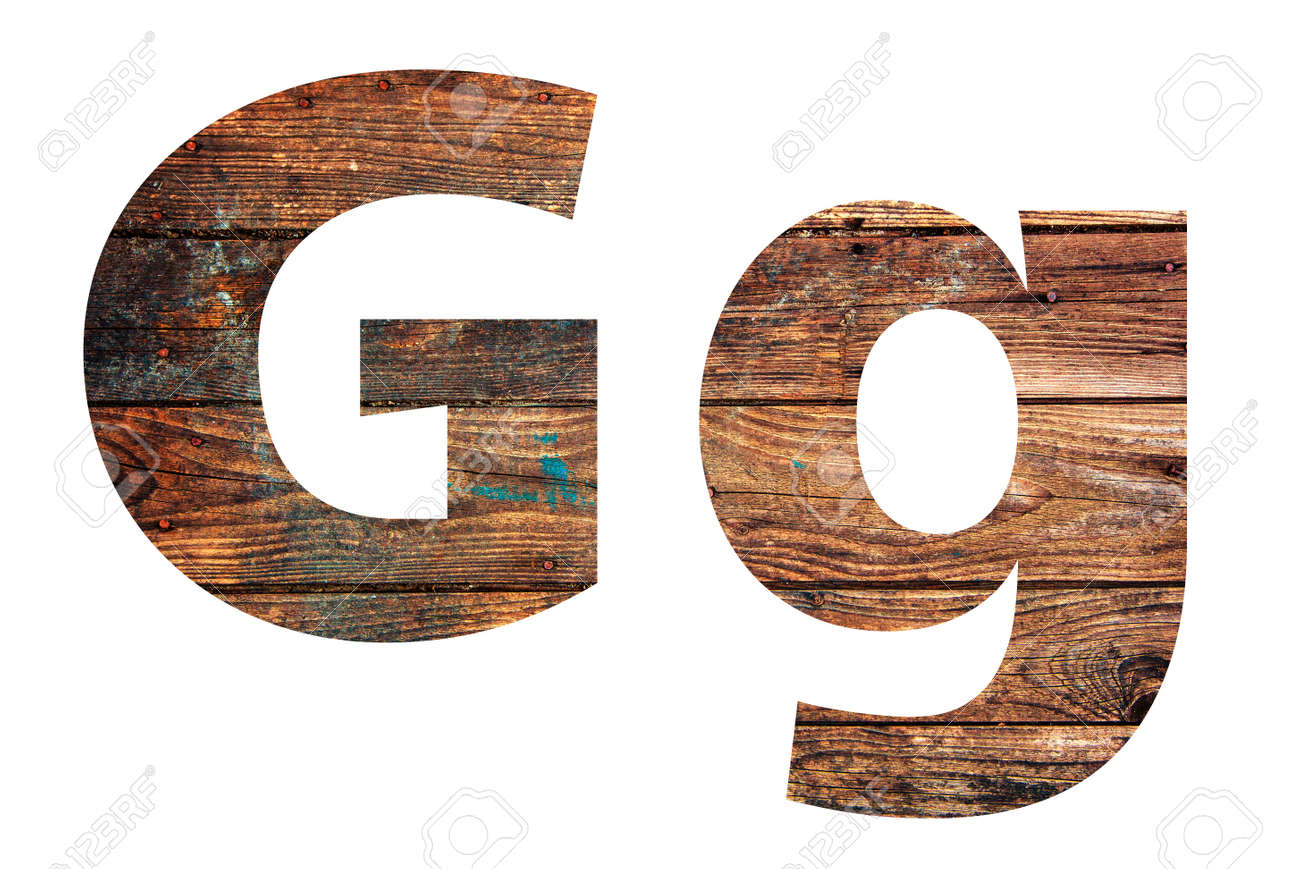 Wooden letters. Letter G. English alphabet isolated on white background. - 167240241