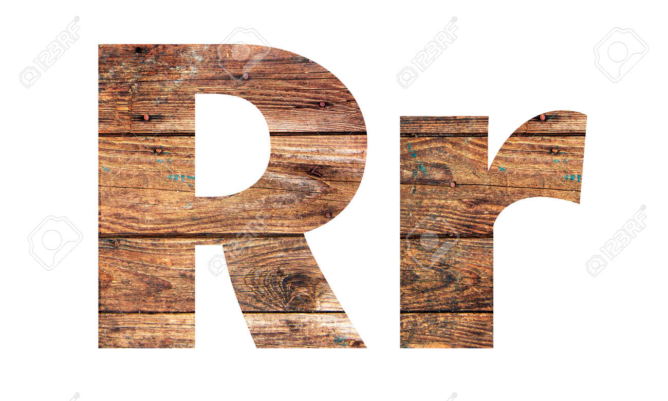 Wooden letters. Letter R. English alphabet isolated on white background. - 167240249
