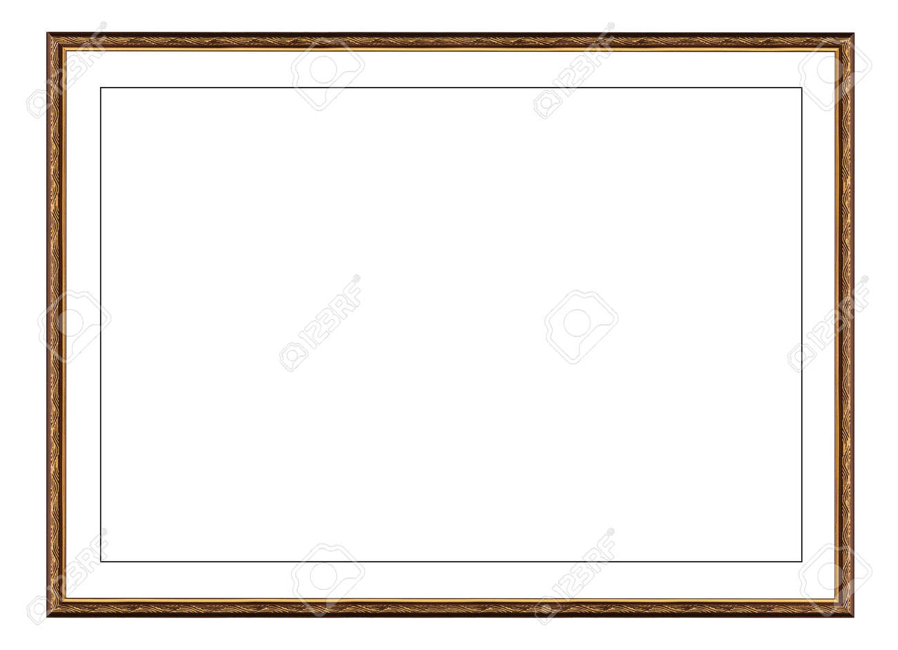 old gold wooden frame for picture or photo, frame for a mirror isolated on white background. With clipping path - 170242739
