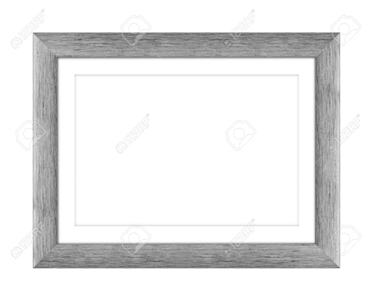 old gray wooden frame for picture or photo, frame for a mirror isolated on white background. With clipping path - 170242742