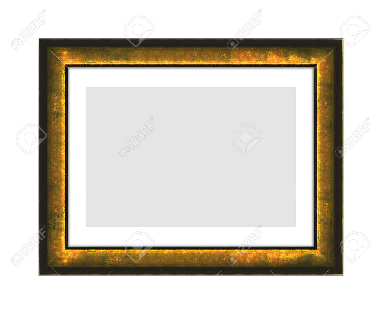 old black wooden frame for picture or photo, frame for a mirror isolated on white background. With clipping path - 170242744