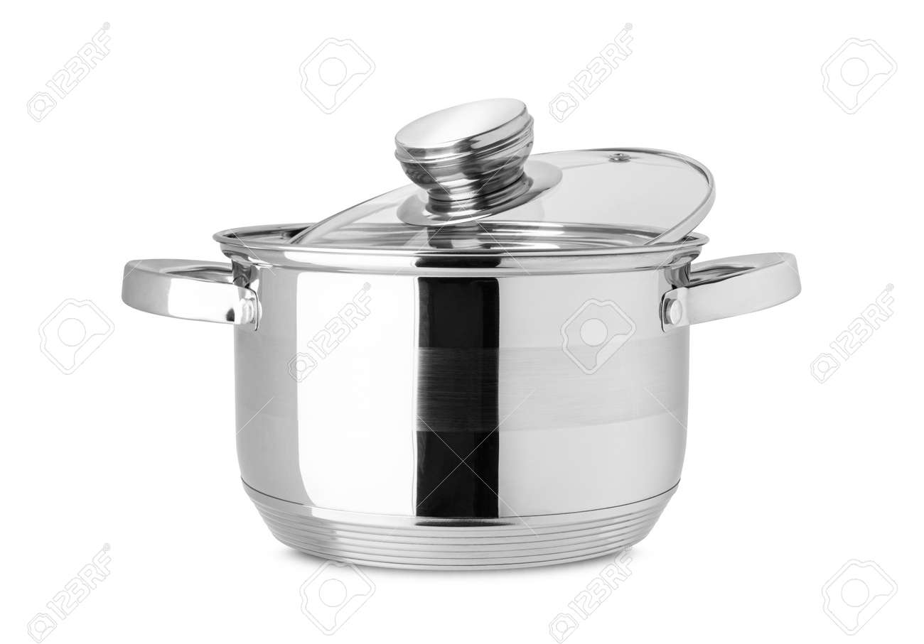 Stainless steel pot, kitchen tools isolated on white background. With clipping path - 170242746