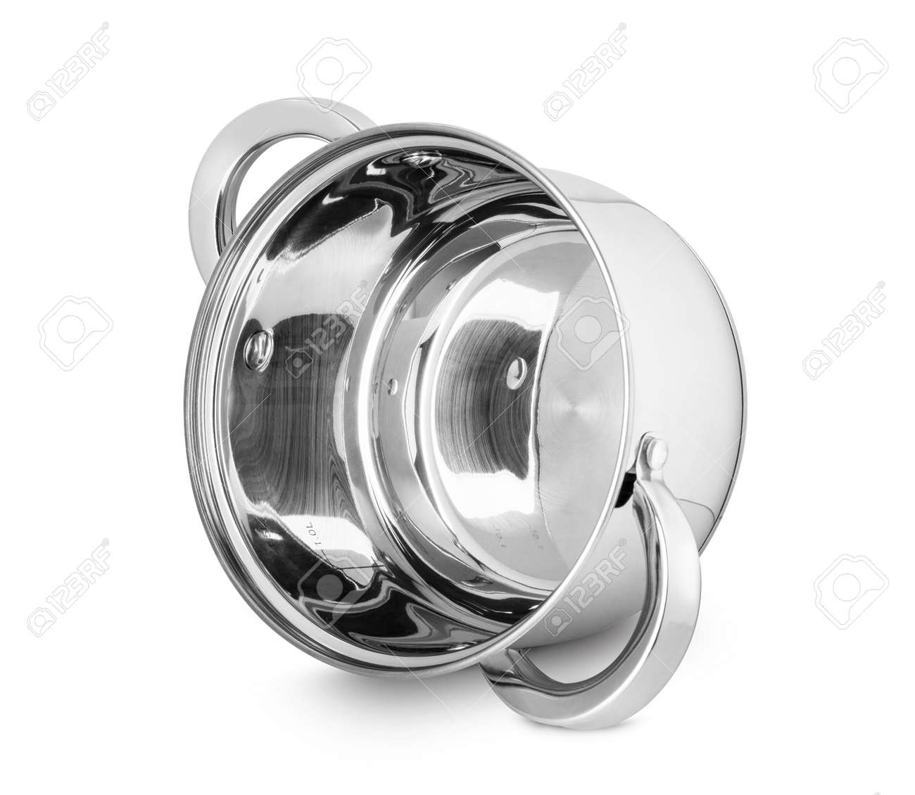 Stainless steel pot isolated on a white background. With clipping path - 170242747